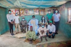Group photo: Courtesy visit by the NEP team to the district head of Kofan Gwari (Kokona LGA) HRH Yahaya Dogara Ogazi and his council members