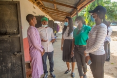 SHS Component Lead addressing a beneficiary (Nehemiah Adodo) at Bimaiyi Clinic, Kofan Gwari, kokona LGA.