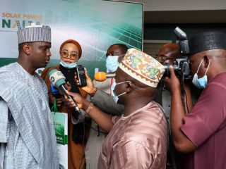 MD/CEO fielding questions from journalist during the solar power naija launch programme
